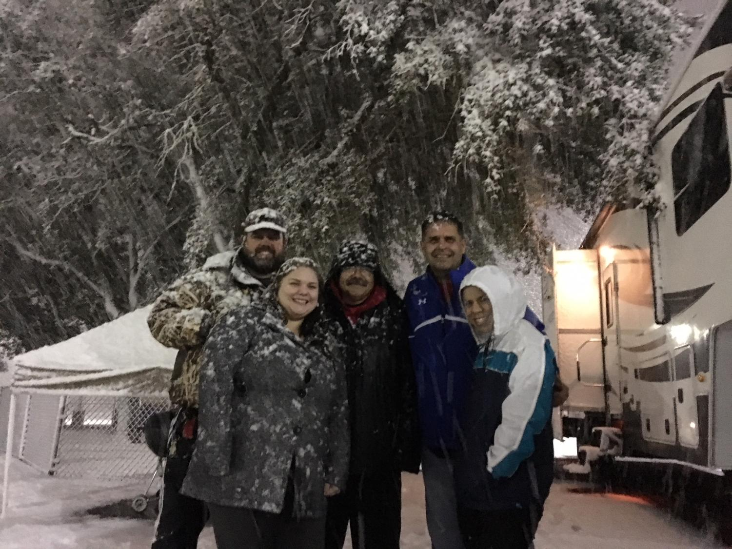 The Penny Drive campers got a surprise when their camp out got a blanket of snow. photo donated by Brent Holcomb
