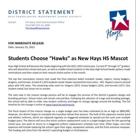 "Hays High School to become the ""Hawks"""