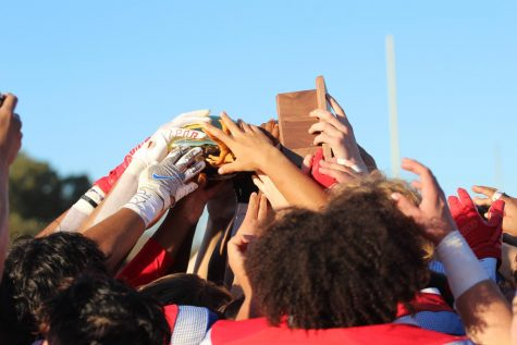 Hays football celebrates their Regional championship trophy after defeating Vandegrift 38-10. The victory takes them to the 6A-D1 state semi-finals, happening this  Saturday against Katy. The game happens at 2 p.m. Saturday at Baylor's McLane Stadium in Waco.